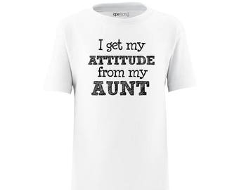 Apericots I Get My Attitude From My Aunt Short Sleeve Kids Tee Shirt