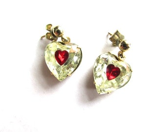 Crystal Red Heart Earrings Bezel Set Dangle Vintage Gold Tone Pierced