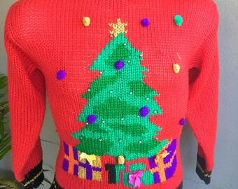Christmas Tree vintage ugly sweater contest winner red size small