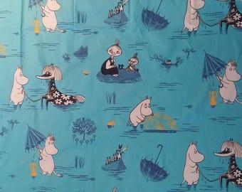 Moomin fabric Rain Moomin cotton turquoise blue black  moomins textile bed linen sewing quilting tillukka