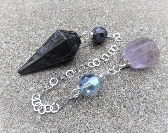 Charoite pendulum with a Sterling chain Charoite bead Sparkly blue AB Art Deco glass bead  Beautiful Amethyst on the end