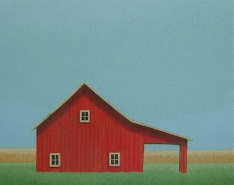 "Original Red BARN Painting 12 x 9""   FARM ART   Old Farm Painting  Barn Painting Farm painting Folk Art painting Country landscape painting"
