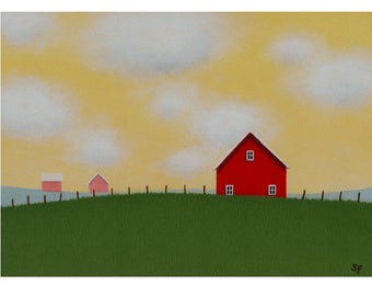 Red BARN PAINTING 5 x 7 Country Landscape Painting Farm painting Modern Barn Painting  Fine Art Gift Modern Barn Painting  Folk art painting