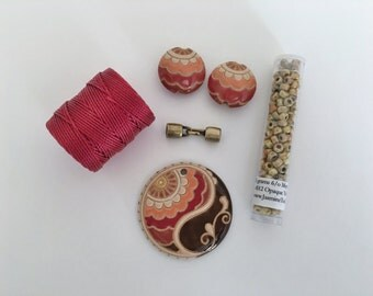 Earth Tones Paisley Paritally Beaded Kumihimo Necklace Kit, Golem Design Studio, Tutorial Sold Separately
