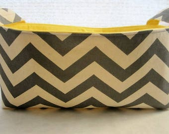 Long Diaper Caddy Fabric Organizer Basket Container  Chevron Gray Zig Zag Bin Storage