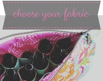 Classic Essential Oil Bag - choose your fabric - 14 bottles - cosmetic bag zipper pouch essential oil bag project