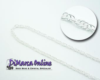 Double Rope Chain 3x2 mm Silver Plated - 1 meter