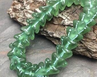 Sea Glass Green Bell Flower Beads 9x6mm Flower Bell Czech Glass Beads. One unit has 25 beads.