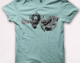 Womens Tshirt Manatee Shirt Fitted Forest and Fin Manatees Sea Cow Screenprinted Shirt - Aqua