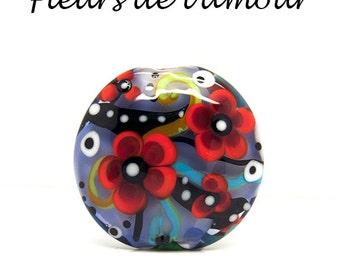 Fleurs de l'amour- Glass Art - lampwork focal bead by Michou Pascale Anderson