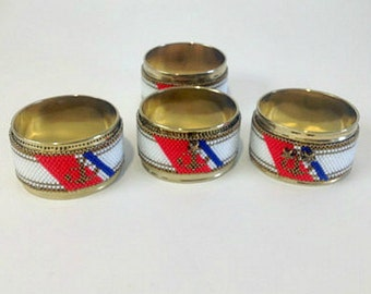 Vintage Brass Napkin ring holder set for USCG active or retired military gift Chief Senior Chief or Master Chief