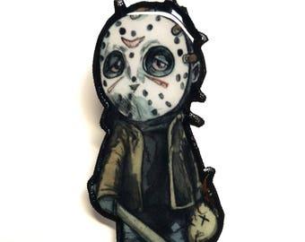 Jason Voorhees Halloween Brooch Horror Pin - Halloween Pin - Halloween Jewelry