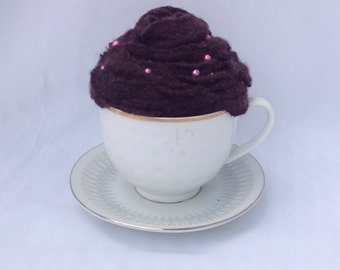 Handmade wool and cashmere brown china teacup pin cushion.  Pincushion.