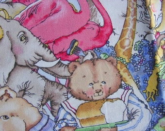 Hungry Animals All Over Design by Quilting Treasures - Ten Inches by Full Width - Unwashed Cotton