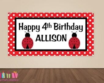 HAPPY BIRTHDAY Banner, Ladybug Birthday Decorations, Ladybug Birthday Backdrop, Party Banner, Girls Birthday Party, Vinyl Banner, Red Black