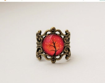 SALE Pink and Orange Tree Filigree Statement Ring. Adjustable.