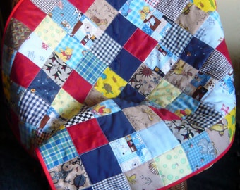 Handmade Old-Fashioned Patchwork Baby Quilt for Boy or Girl - REDUCED