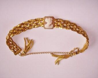 Victorian Book Chain GF Lady Cameo Bracelet