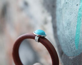 Extra thick camel leather bracelet with turquoise