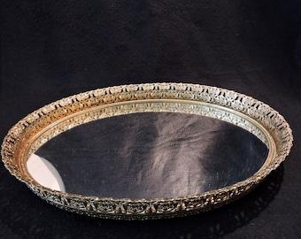 Vintage Oval Vanity Mirrored Tray