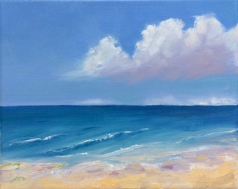 "Sea Bliss. original oil painting on stretched canvas board. Beach painting. Ocean. Seascape. Yvonne Wagner. 8"" x 10"" Free Shipping to USA"