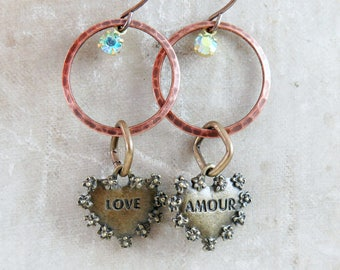 Heart Earrings, Hoop Earrings, Geometric Jewelry, Amour, Circle Earrings, Boho Jewelry