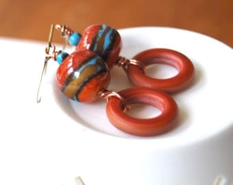 Southwest Red Earrings, Lampwork Glass Bead Earrings, Boho Chic, Colorful Earrings, Boho Chic earrings, Glass Bead Earrings