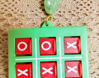 Tic Tac Toe 1980's Necklace OOAK Gamers Nerd Pendant