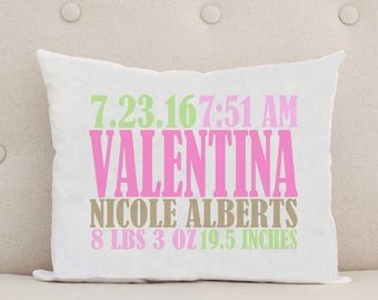 Baby Pillow - Personalized Pillow - Birth Statistics - Birth Announcement - Nursery Decor - Unique Baby Gift - Pink Green Brown