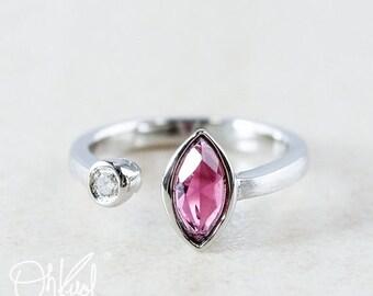 CHRISTMAS SALE Ruby Pink Tourmaline Dual Stone Ring - Diamond - Multi Stone Ring