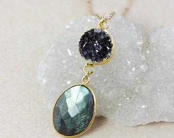 50 OFF SALE Druzy and Blue Labradorite Tiered Pendant Necklace – Choose Your Labradorite