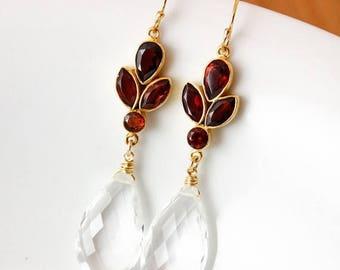 ON SALE Gold Crystal Quartz Earrings - Bridal Earrings - Red Garnet Quartz