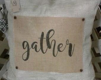 Gather Pillow 18x18 burlap farmhouse style