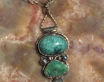 Turquoise and Variquoise pendant necklace