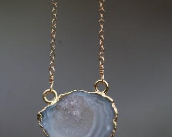 Blue Lace Geode Necklace