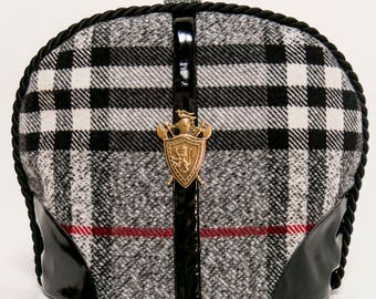 Tea Cosy/ Cozy Tartan/ Plaid Wool with Metal Heraldic Crest / Black Patent Embellishment