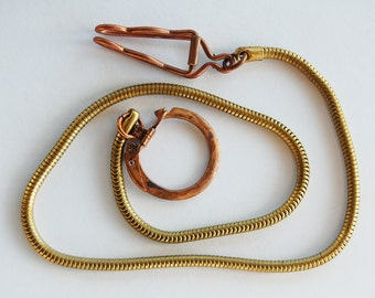 Vintage Belt Clip Key Chain Long Brass Rope Chain & Clip • 22.5 inches