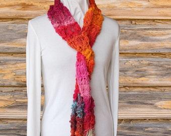 Knit Scarf Pattern, Textured Knitting Patterns, Blossom Knit Scarf Design, Intermediate Level Knitting Tutorial, Noro Yarn Pattern,