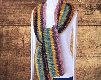 Easy to Knit Scarf Pattern, Striped Knit Scarf Design, Super Scarf Knit Pattern, Seed Stitch Knitted Scarf, Knitting Pattern, Gift to Knit