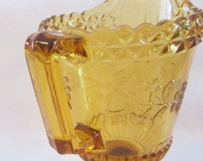 Amber Glass Footed Creamer Floral Pattern, Serving Creamer Amber Glass, Footed Creamer Serving Pitcher, Glass Creamer, Depression Glass
