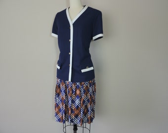 60s mod plaid skirt set navy prep school nautical blouse outfit large new old stock