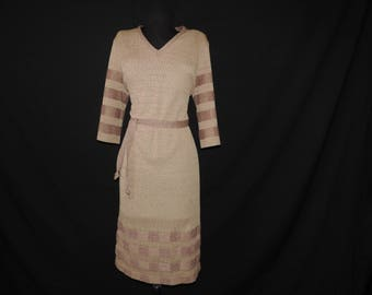vintage sweater dress 60s boho winter dress mod herman marcus camel checker knit large