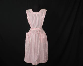 1950's candy striper pinafore dress Imperial hospital helper volunteer nurse red and white stripe frock medium