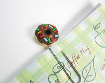 Planner clips, Donut gifts, donut planner clips, planner accessories, unique bookmarks, paper clips, friend gift, chocolate sprinkles, food