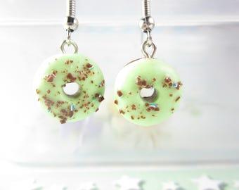 Green Donut Earrings, chocolate sprinkles donut earrings donut jewelry polymer clay miniature food best friend gift for her cute earrings