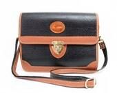 Vintage Bag All Weather Leather Dooney & Bourke design Carina Black and Ten Satchel Crossbody bag