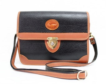 Vintage Bag All Weather Leather Dooney & Bourke design Carina Black and Ten Satchel Crossbody bag