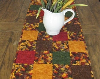 SALE Fall Leaves 2 Quilted Table Runner