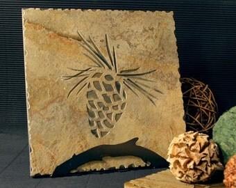 Natural Stone Trivet / Hot Plate - Pinecone on Buff Slate