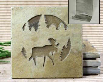 Etched Natural Stone Coaster Set with Holder - Moose in Pine trees on Buff Slate
